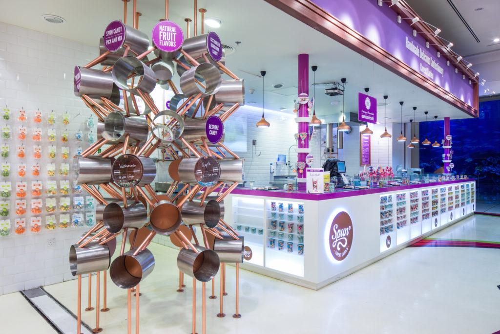 candylicious, candy store, interior design, dubai, spun